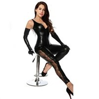 Wholesale Leather Lace Gloves - High Quality Black Sexy Faux Leather Women Tank Jumpsuits Costume Sleeveless Floral Lace Insert Catsuit Temptation Bodysuit With Gloves