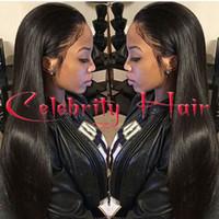 peluca de pelo natural africano al por mayor-Pelo largo recto natural del pelo sin cola frente del cordón wi peluca llena del cordón del pelo para los afroamericanos woman12-26inch resistente al calor