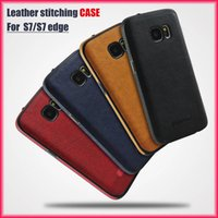 Wholesale Drop Shipping Phone Cases - For Samsung S8 S7 S6 New Business Leather Pattern Stitching Phone Case All-inclusive Protective Anti-drop TPU Soft Case via Free Shipping