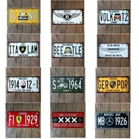 Wholesale Decoration For Hotel Wall - License plates metal tin signs famous brand car retro wall decoration plaque vintage iron painting art for pub bar hotel birthday gift
