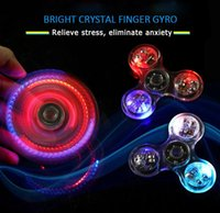 Wholesale Crystal Rotary Led - NEWEST Triangle LED Manual Crystal Finger Knob Finger Gyro Rotary Handle Fidget Relief Anxiety Decompression Toys Decompression Finger Helix