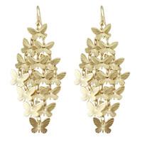 Wholesale Gold Plated Butterfly Earrings - Lovely design elegant gold color butterfly design drop earrings for women