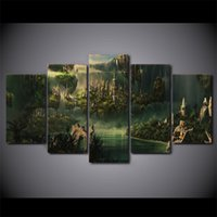 Wholesale Country Decorative - HD Printed 5 Piece Canvas Art Lord of the Rings Painting Mysterious Ancient Country Decorative Pictures Free Shipping
