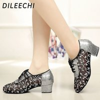 Wholesale TOP Sneakers DILEECHI Adult Latin shoes female spring and summer mesh friendship dance Square dance shoes soft bottom low heeled