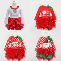 Wholesale Santa Claus Baby Girl Clothes - Dress Girls Clothing Lace Bowknot Christmas Newborn Baby Girl Clothes Santa Claus Tutu Infant Cake Dresses Party Costume 100pc Free Shipping