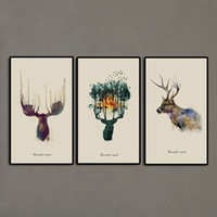 Wholesale Wall Art Triptych - 3 Panels Triptych Watercolor Animal Beautiful Deer Art Prints Elk Wall Picture Canvas Painting Kids Room Home Decor Unframed