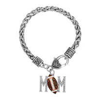 Wholesale Thick Antique Silver Charms - fitness zinc alloy material antique silver color crystal mom & multicolor football charm Thick Wheat Chain bracelets with Lobster clow clasp