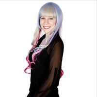 ingrosso parrucca colorata di moda-Parrucca di capelli di moda ragazza scoppio colorato parrucche di rayon lunghi del fumetto dei capelli ricci guaina bar carino parrucca anteriore parrucca pizzo anteriore scoppi
