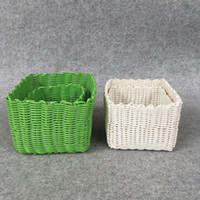 Wholesale Storage Baskets Japanese - Storage Baskets lay in daily necessities Stocked Folding Bucket Clothin white and green coffret gbasketful PP imitation rattan