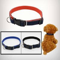 Dog Harness Dog Collar Lead Jean Denim Pet Dog Adjustable Thickened Resistant Pet Neck Strap Collar Leashes