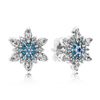 Wholesale Earring Snowflake Silver - Authentic 925 Sterling Silver Earring Crystalized Snowflake Crystal Stud Earrings For Women compatible with Pandora HK3D14