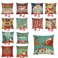 Wholesale Printed Cushions Linen Cotton - 2017 Pillow Case Textiles For Christmas Cotton Linen Pillow Back Cushion Cover Holiday Decorations Santa Claus Reindeer Xmas Gift 13 colors