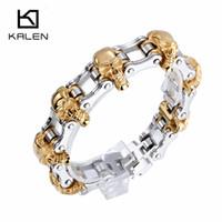 Wholesale 316 Plate - Wholesale- Kalen New Punk Bracelet 316 Stainless Steel Black Plated Skull Charm Bracelets Gold Plated Link Chain Wrap Bracelets for Men