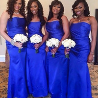 Wholesale Strapless Brown Bridesmaid Dress - Royal Blue Long Bridesmaid Dresses Sweet Sexy Strapless Floor Length Satin maid Of Honor Gowns Ruffles Wedding Guest Formals Party Dress
