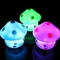 Wholesale Press Down Night Light - Baby Kids Gifts Colorful Mushroom Press Down Touch Room Desk Bedside Changing Colors Lamp Mini LED Night Light