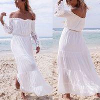 Wholesale White Maxi Sundress - Women Summer Boho Long Maxi Dress With Floral Off Shoulder Evening Cocktail Party White Dress Hot Beach Dresses Sundress ZL3441