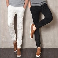 Wholesale Korean Men Pants For Sale - Wholesale-2016 Spring and Summer New Men's Jeans Pants Korean Style White Black Skinny Hole Jeans Men Casual Ripped Jeans For Men Hot Sale
