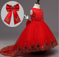 Wholesale Formal Crimson Dress - Summer Formal Kids Long Tail Dress For Girls Pearl Butterfly Princess Wedding Party Dresses Girl Clothes Dress Bridesmaid Children Clothing