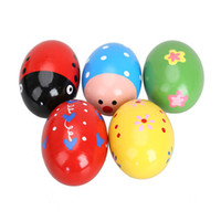 Wholesale Egg Rattle - Wholesale- 5PCS Baby Wooden Egg Rattle Toy Toddler Infant Baby Rattles Wooden Music Egg Shaker Colorful Lovely Cartoon Play Toy