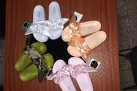 Wholesale Woman Shoes Heels Silver - 2017 Fenty Rihanna Shoes slippers Mix colors for women With Box Dust bag 2017 Fashion ladies summer bowtie Slide Sandals flip flops.