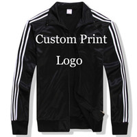 Wholesale Make Screen Printing - Wholesale- custom Made Sportswear Jackets Custom loose Jacket DIY Logos screen Embroidery print customized Print Tracksuit Printed HY