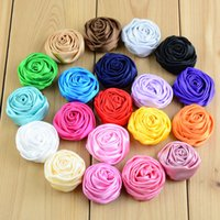 Wholesale Mini Silk Rosettes - free shipping 30pcs lot 1.4inch 29Color Mini Stain Silk Rosebud Flowers Handmade Rolled Puff Rosette Hair Accessories Boutique Supply H0121
