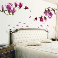 Wholesale magnolia wall - Wholesale- 70*50cm Magnolia flower blossoms sticker wall Paper creative fashion hall wallpaper floral DIY paste home bedroom DE839