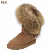 Wholesale boot grey fox - Wholesale-Fashion style big nature fox fur girls tall snow boots for women botas cow leather winter shoes high boots black brown quality