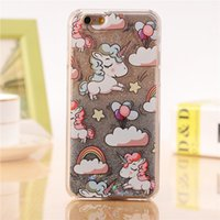 Wholesale Iphone Star Pouch - For iPhone 4 4s 5 5s 5c 6 6s 7 Plus Case Cover Lovely Unicorn Dynamic Liquid Bling Star Hard PC Phone Cases Capa Fundas