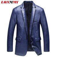 Wholesale Leather Suit For Motorcycle - Wholesale- LONMMY 2016 Motorcycle Leather jacket men suits blazers for man PU Slim fit Fashion men blazer suit male leather jacket blazer