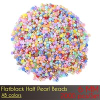 Wholesale Half Pearl Gem - ABS Flat Back Half Pearl Beads 6mm AB Color 2000pcs Set Resin Half Round Pearl Beads Gems Pearl Beads Nail Art DIY Decoration