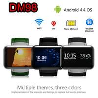 relógio de pulso gsm venda por atacado-DM98 Relógio Inteligente GSM Telefone Android 4.4 Com GPS 3G WIFI WCDMA Saúde Fitness Relógio de Pulso Monitor de Sono Do Bluetooth Wearable Dispositivos smartwatch