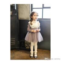 yeni moda net elbiseler toptan satış-Yeni kızın Elbise Çocuk Giyim Moda Bebekler Kız Prenses Elbise Bahar Yeni Çocuk Net Iplik Çocuklar Dantel Elbise