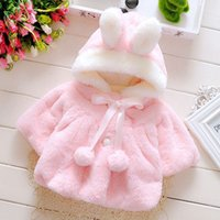 Wholesale Girls Kids Blazer - Ins Girls Blazer Jackets Kids Bunny Ear Childrens Coats Outfit Hoodies With Pompom Soft Keep Warm Kids Clothing Toddler Jacket