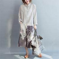 Wholesale Women Floral Button Shirt - Women Long Shirts Loose Cotton Linen Casual Blouses 2018 Autumn New Vintage Print Floral Pockets Tops Button Fashion