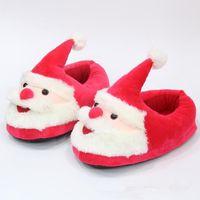Wholesale kids christmas slippers - 21cm Santa Claus Slippers Christmas Soft Home Slippers Xmas Indoor Shoes Christmas Plush Big Kids Slipper 2pcs pair CCA8245 50pairs