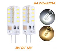 Wholesale Dc Led Bulb Replacement - 100PCS G4 LED Lamp DC 12V SMD3014 Silicone 3W Replacement 20W Halogen Bulb 360 Beam Angle and Lighting Spotlight
