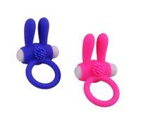 ingrosso vibratore coniglio per gli uomini-Cock Ring Vibrator Ritardo Eiaculazione Coniglio Prodotti adulti Silicone Sex Toys per uomini Penis cockring vibrante