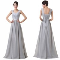 Wholesale Crochet Models - Grace Karin Chic Lace Crochet New Gray Bridesmaid Dress Wedding Evening Prom Gowns Formal Long Dress 8 Size US 2~16 CL6231