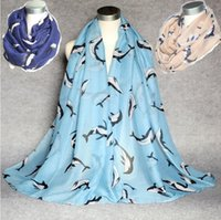 Wholesale Large Circle Scarves - New Design Dolphin Print Voile Cotton Infinity Scarf Fashion Circle Scarf Large Size Long Scaves Women Animal Print around Scarfs 6Colors