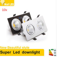 Wholesale Double Ceiling Led - 10x Square Bright Recessed Double LED Dimmable Square Downlight COB 14W 20W LED Spot light decoration Ceiling Lamp AC 110V 220V