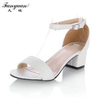 Wholesale Shoe Less Sandals - Wholesale-2016 Big Size 34-43 Fashion Thick Med Heels Less Platform Sandal For Women Sexy Casual Buckle Strap Summer Dress Shoes