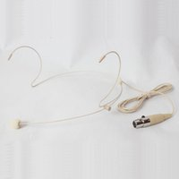 Wholesale Headset Xlr - HE-20S-3P Professional Beige Headset Microphone With Mini 3pin XLR Connector For Wireless Microphone bodypack Transmitter Wholesale