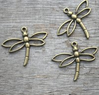 Wholesale Dragonfly Bronze Charm - 15pcs Dragonfly Charms--antique bronze Dragonfly Pendant,antique bronze jewelry findings 26x33mm