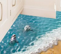 Wholesale Wall Decal Sea Removable - Beautiful Sea Wall Sticker Cute 3D Dolphin Floor Stickers Waterproof Bathroom Sticker Eco-friendly Kids Wallpaper 6 Styles