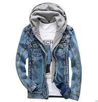 Wholesale Peplum Korea - 2017 New Arrival Spring Denim Jacket Men Casual Long Sleeves Hooded Men Tops Solid Color Korea Version Fashion Men Jacket