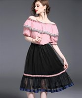 Wholesale Girl S Blouse Skirt - New Summer Women Fashion Two Piece Sets Ladies Sexy Off Collar Cappa T Shirts Short-Sleeved Blouses + Girls Lovely Grenadine Falbala Skirts