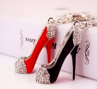 Wholesale Shoe Keyrings Wholesale - Rhinestone High-heeled Shoes Keychain Exquisite Silver-plated Crystal Car Keyring Alloy Keyfobs Creative Jewelry Gift factory wholesale