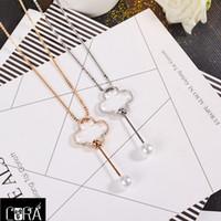 Wholesale Long Diamond Necklaces - South Korea's new diamond pearl pendant necklace fashion hollow flower long sweater chain jewelry female temperament