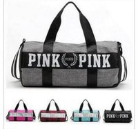 Wholesale Women Sports Bag - Yoga Bags Travel Beach Bag VS Women Men Handbags Letter Bags Pink Letter Duffle Shoulder Bags 2017 Fashion Fitness Waterproof Totes